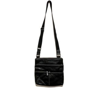 ROOTS LEATHER and nylon crossbody bag, black